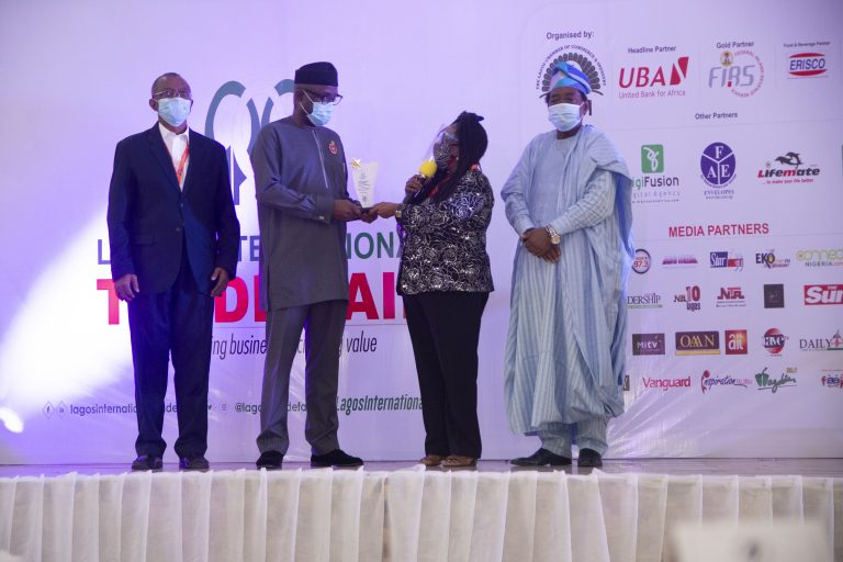 From L-R: Vice President and Chairman, Trade Promotion Board of the Lagos Chamber of Commerce and Industry (LCCI), Mr. Gabriel idahosa; Representative of the President of Nigeria and Minister of Industry, Trade and Investment, Otunba Adeniyi Adebayo; President, LCCI, Mŕs. Toki Mabogunje and Deputy President, LCCI, Dr. Michael Olawale-Cole during the Opening Ceremony of the 2020 edition of the Lagos International Trade Fair at Tafawa Balewa Square, Lagos.