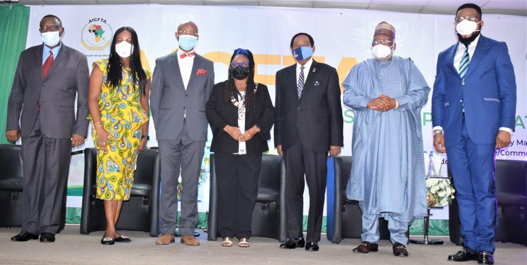 L-R: High Commissioner of Tanzania to Nigeria, Dr. Benson Alfred Bana; Special Adviser to  Lagos State Governor on SDGs, Mrs Solape Hammond; Dean, Lagos Business School, Prof. Chris Ogbechie; President, Lagos Chamber of Commerce and Indistry (LCCI), Mrs. Toki Mabogunje; Deputy President, LCCI, Dr. Michael Olawale-Cole; High Commissioner of Kenya to Nigeria, Amb. (Dr) Wlifred G, Machage and Acting Chief Trade Negotiator, Nigerian Office for Trade Negotiations, Mr. Victor Liman during a Hybrid conference on successful Implementation of the AfCFTA organized by the Lagos Chamber of Commerce and Industry in Lagos on Tuesday.