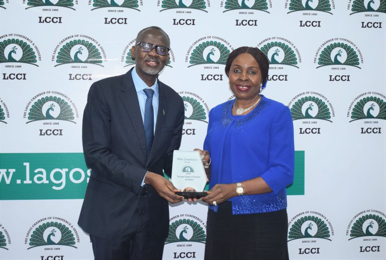 L-R: Rwanda High Commissioner to Nigeria, Ambassador Stanislas Kamanzi and Director General, Lagos Chamber of Commerce and Industry (LCCI) Dr. Chinyere Almona during a courtesy visit of the High Commissioner to LCCI recently in Lagos.