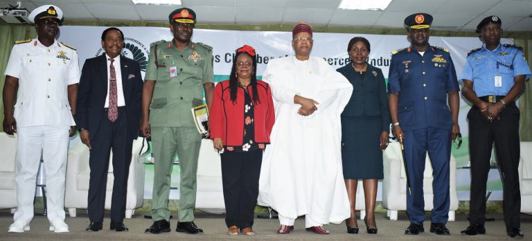 L-R: Representative of Chief of Naval Staff, Rear Admiral B.J. Gbassa; Deputy President, LCCI, Asiwaju Michael Olawale-Cole, CON; Representative of Chief of Defence Staff, Major General Adeyemi Yekini; President, Lagos Chamber of Commerce and Industry (LCCI), Mrs. Toki Mabogunje; Chairman of the Occasion, Prince Julius Adelusi-Adeluyi, Director General, LCCI, Dr. Chinyere Almona; Representative of the Chief of Air Staff, Air Vice Marshal Charles  Ohwo and Commissioner of Police, Lagos State, Hakeem Odumosu during 2021 LCCI Security Meets Business dialogue held recently in Lagos